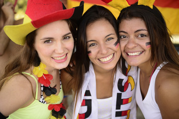 Cheerful group of German women soccer or sport  fans.