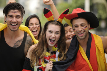German sport soccer fans celebrating victory together 2