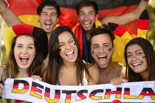 canvas print picture German sport soccer fans celebrating victory.