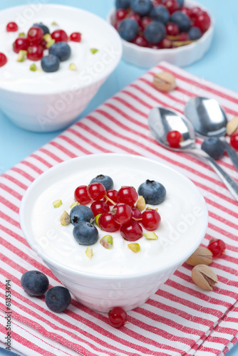 fresh sweet yogurt with berries, top view