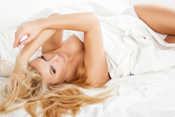 woman at bed relax