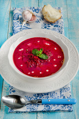 Red borsch with sour cream