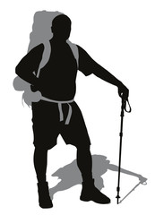 Man with backpack posing. Vector silhouette