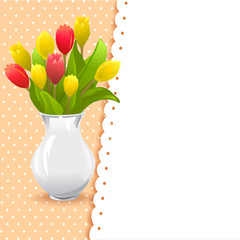 card vase with tulips