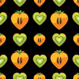 Seamless pattern of kiwi, persimmon in Heart on black background