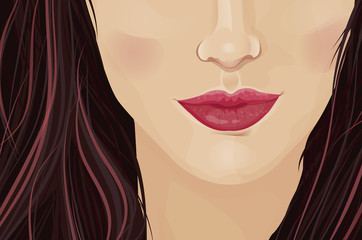 Close-up of a girl's face with accent on the lips