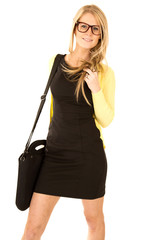 beautiful long haired blonde with glasses and black shoulder bag
