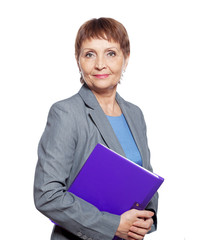 attractive woman 50 years old with a folder