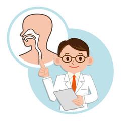 呼吸器系の説明をする医師