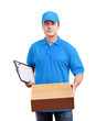 Man courier in light blue uniform with a box isolated on white