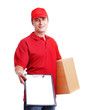 courier in red holding a box and a tablet isolated on white