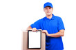 Delivery man in blue uniform  isolated on white
