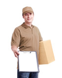 Young man courier in khaki