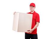Delivery man in red uniform with a parcel