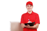 Delivery man in red uniform writing on a tablet