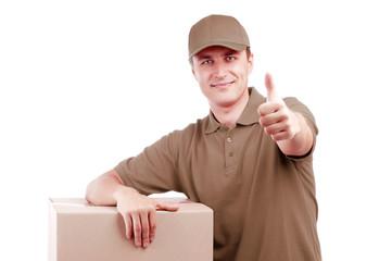 Delivery man in grey uniform