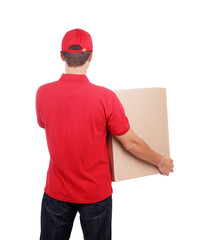 Delivery man with a big box view from behind