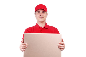 Portrait of a courier with a box isolated on white