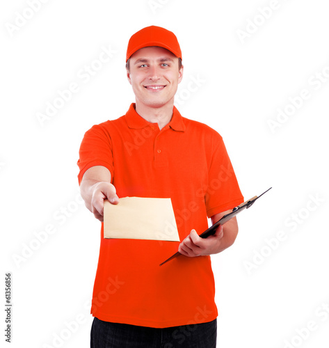 Courier in orange uniform with a letter
