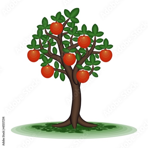 Decorative tree with orange fruit.