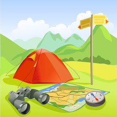 travel set, tent, mountain landscape