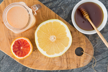 Fresh squeezed grapefruit juice served with honey
