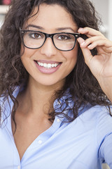 Woman Girl Wearing Geek Glasses