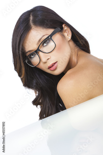Beautiful Young Asian Chinese Woman Wearing Glasses