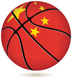 3D basket ball with China flag on white.