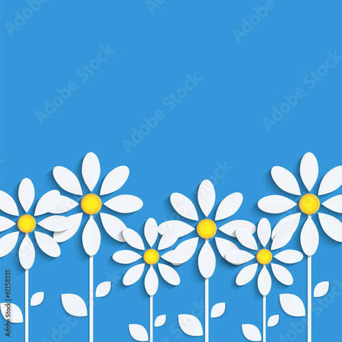 floral background.white camomiles  on  blue background.paper flo