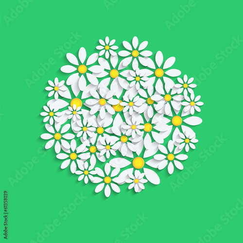 floral background.white camomiles  on a green background.vector