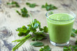 Green smoothie with parsley on wooden table - 61358275