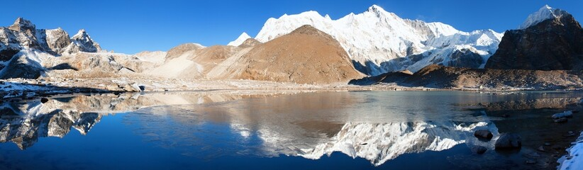 view of Cho Oyu mirroring in lake