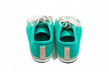Pair of new green sneakers