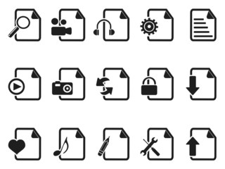 black Files and Documents icons set