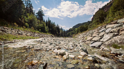 Landscape of river in Alps mountains. Val d'Aosta - Italy, Europ