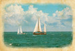 Sea voyage concept with two yachts in retro style.