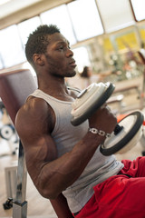 Young black man portrait exercising with dumbbells in the gym.