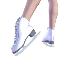 Legs in white ice skates