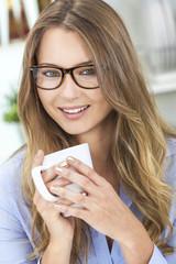 Woman Girl in Kitchen Drinking Tea or Coffee