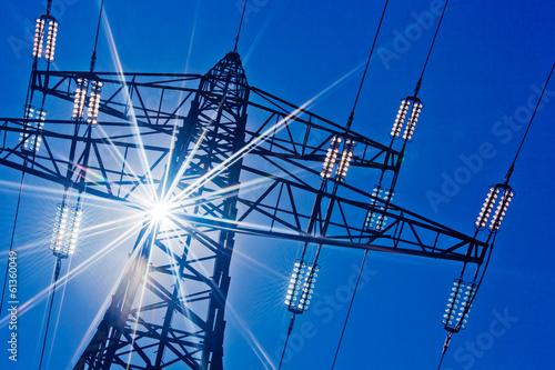 canvas print picture Stromleitung mit Sonne