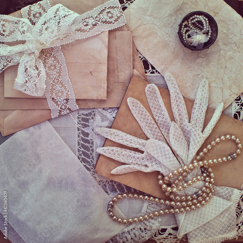 Vintage women's jewelry and gloves.