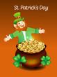 Leprechaun Cartoon With Money Coin
