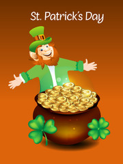 Leprechaun Cartoon With Money Coin