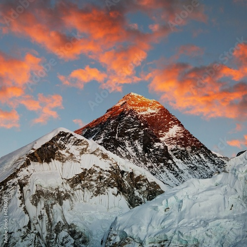 Evening colored view of Everest