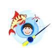 Постер, плакат: веселый рыбак на зимней рыбалке