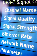 Signal quality menu on a modern television set