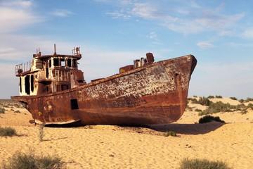 Boats in desert - Aral sea- Uzbekistan