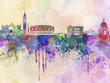 Venice skyline in watercolor background