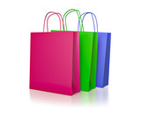 Colored paper shopping bags